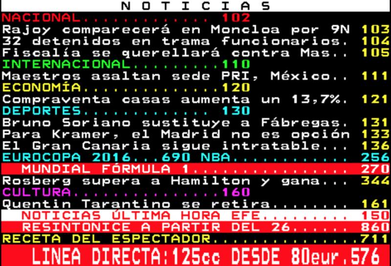 Imagen del teletexto en su índice de actualidad pixelada