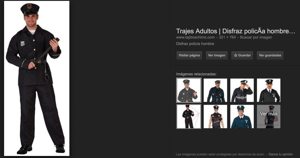disfraz de policio - misspelling ven a mi