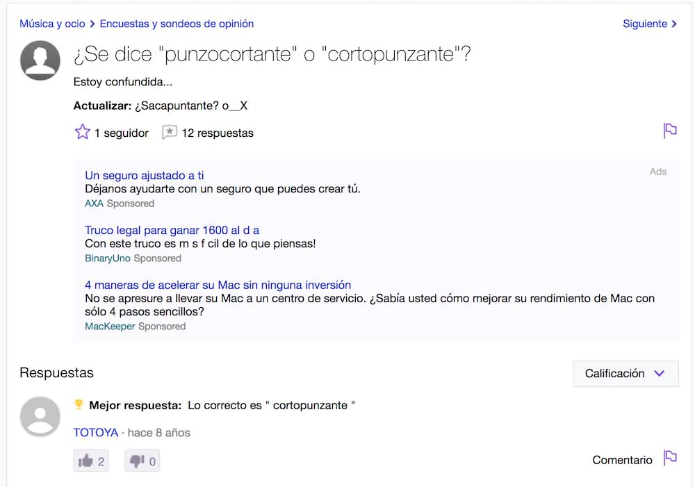 Yahoo preguntas - ortopunzante