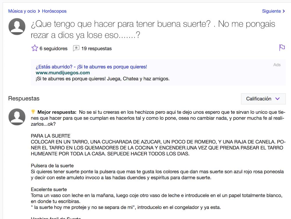 Yahoo Preguntas Tontas Sobre tener suerte